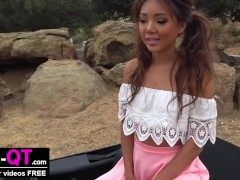 Adorable Cute Asian Girl Fucks herself in Car in Public