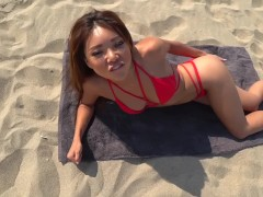Bold Asian Beach Masturbation and Orgasm