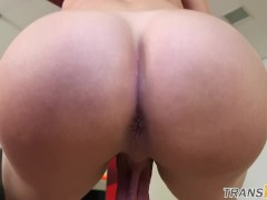 Lingerie TS Tugs on her Swollen Cock