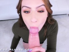 Busty Physical Therapist gives Sloppy Blowjob gets Fucked and Swallows Cum