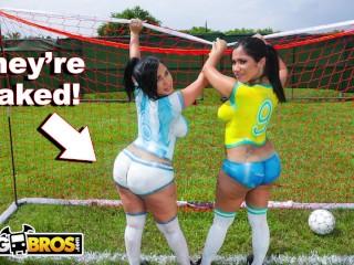 Szexi segges latin pornósztárok játszanak focit és kefélnek