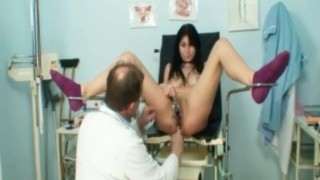 Gyno Clinic Pussy Speculum Exam Of Busty Adriana