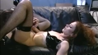 Redhead fucked and chloe petite stilettos fishnets in fishnet stockings
