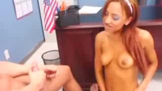 Redhead Veronique deep throats her profs long cock