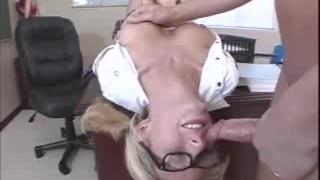 Blonde bopper Hillary deepthroats a cock upside down
