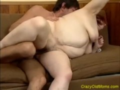 Crazy old mom gets big cock blowjob and pussy fuck