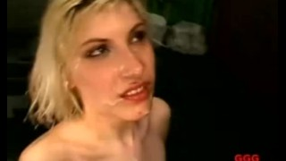Face sperm drenched her blonde in gets swallow cum