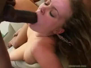 Amber Peachs pussy is open to two monster cocks