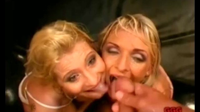 Cum goo clips Blonde milfs drinking and swapping cum