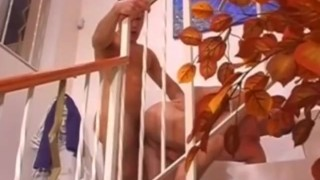 Young fucking couple hardcore staircase