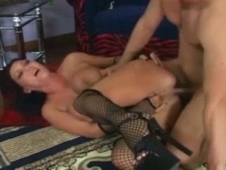 Big boobed milf anal and deepthroat in fencenet stockings and hee