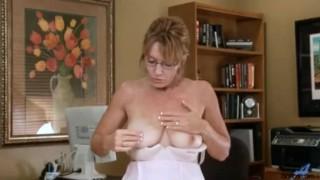 Horny office secretary milf masturbation
