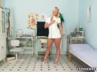 Preview 1 of Super sexy blond nurse pulling her weird pussy lips