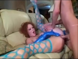 Sexy redhead deepthroat and anal in stockings and latex lingerie