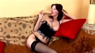 Teasing then masturbating while wearing panties and stockings Oil footjob