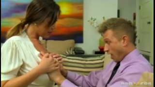 Hot Big-tit Brunette Asian MILF slut fucks hard cock after shower