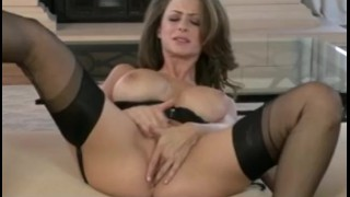 Hot big-tit babe dildos her wet pink pussy for her orgasm