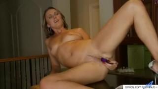 Classy milf penetrates pussy