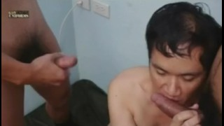 Asian Military In A Threesome