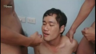 Threesome a asian military in asians jerking