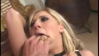 Big boobed blonde fucked in pink thigh high fencenet stockings