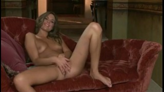 Sexy natural-tit brunette girlfriend strips & rubs pussy to orgas