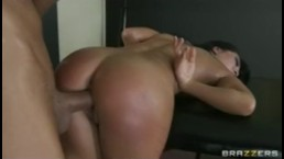 Horny busty Asian babe Asa Akira is massaged & fucked by big-dick