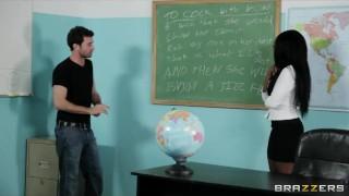 Sexy busty Ebony teacher Persia Black fucks her school student Pov cowgirl