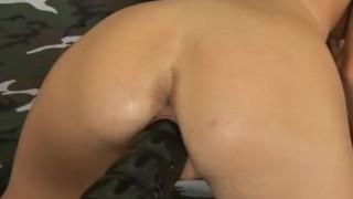 Smokie fucked by a brutal dildo