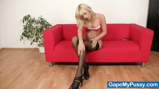 Blonde babe Paris uses pussy gape spreader  spreading masturbating gaping slim blonde masturbate stretching extreme leggy weird pussy gape bizarre adult toys gapemypussy sex toy