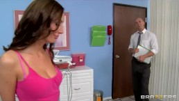 Big-boobed MILF Angelica Saige gives her dentist an oral exam