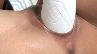 Eve fills her pussy with a brutal dildo