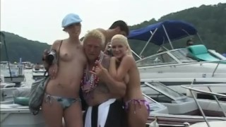 babes party part usa boat stripping