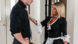 Slutty blonde maid Kristal Summers gives an amazing suck & fuck