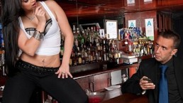 Sexy brunette bartender Valerie Kay loves to fuck her customers