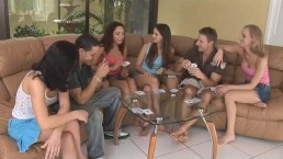 A group of amateurs playing strip poker and fucking each other