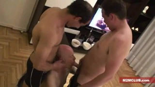 Straight guys serviced by older men View of