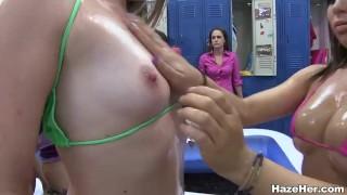 Jello wrestling amateur college lesbians licking
