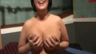 Curvy UK pornstar Sarah Jane sucks cocks in a UK swingers club Bollywood indian