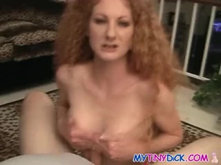 Curly bitch sucks his cock like never before