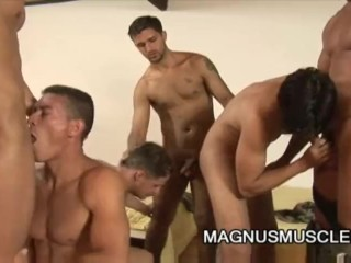 Muscle soldiers having group sex