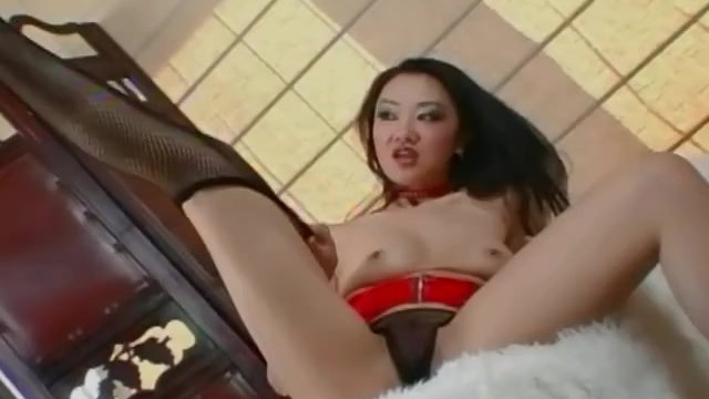 Sheer fishnet bikini Petite asian teases and masturbates in a garter belt and fishnets
