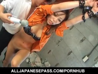 Asian cosplay girl groped on subway