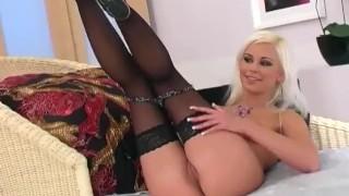 Platinum blonde minx teases and masturbates in lingerie and heels