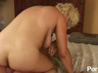 Busty blonde milf fucked in her hairy cunt