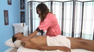 Alliyah Skye Gives a Massage and Blowjob to a Big Black Cock