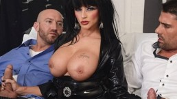 Big-tit Joslyn James takes two dicks before her Halloween party
