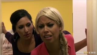 Dominant big-tit wife Bridgette B fucks her Latina maid Reena Sky View sex