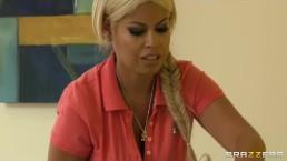 Dominant big-tit wife Bridgette B fucks her Latina maid Reena Sky
