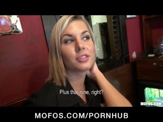 Preview 6 of Gorgeous blonde bartender is talked into having sex at work